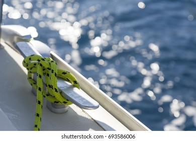 The rope is visible on the boat, inside the beautiful view.
