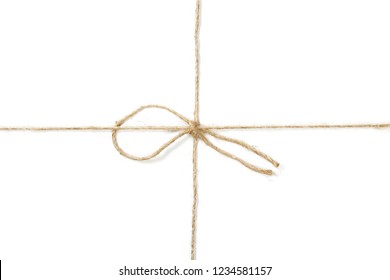 rope wrap with bow isolated on white, clipping path, top view