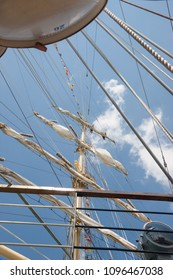 Ropes and Cleats on the Bow of a Wooden Sailboat
