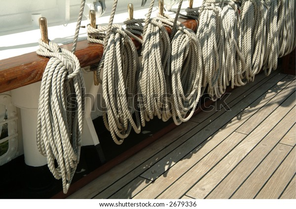 Ropes hung on deck an historic battleship