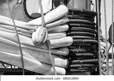 Ropes on a sailing ship. Black and white photo.