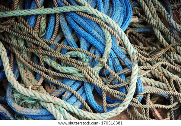 ropes used by fishermen in Fisherman's Beach, Punta del Diablo, Rocha, Uruguay.