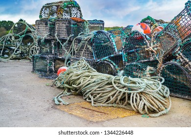 Ropes and various fishing industry tools in Castletownbere harbor. County Cork, Ireland