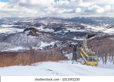 Ropeway or cable car transportation to Mount Usu summit during winter