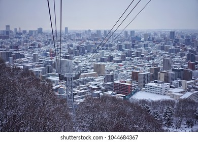 The Ropeway is going to the top of Mt.Moiwa to see Sapporo city view in Hokkaido, Japan on 14 February 2018