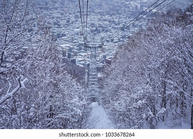 Ropeway to see Sapporo city view in Hokkaido, Japan