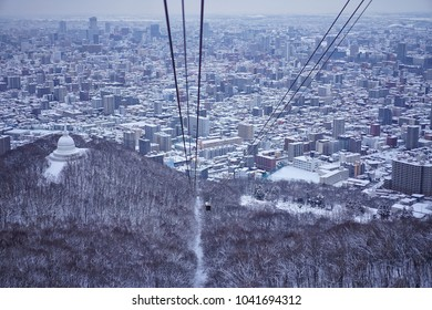 Ropeway to see Sapporo city view from Mt.Moiwa in Hokkaido, Japan