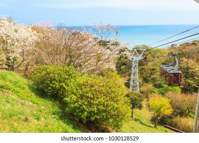 Ropeway view point at Nihondaira with cherry blossom at Shizuoka