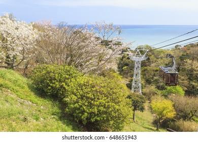 Ropeway view point at Nihondaira with cherry blossom at Shizuoka, Japan