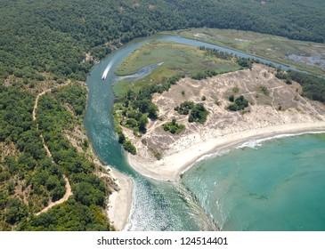 Ropotamo River Ropotamo reserve  Bulgaria From Sky