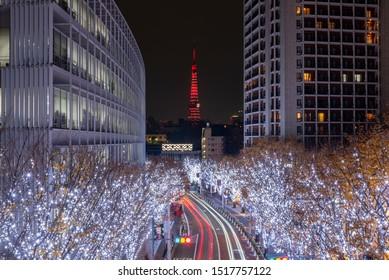 Roppongi Hills winter illumination festival ( Keyakizaka Galaxy Illuminations ), beautiful view, popular tourist attractions, travel destinations for holiday, famous events in Tokyo city, Japan