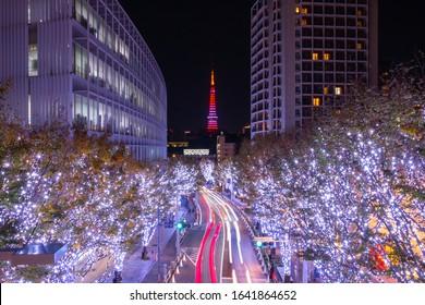 Roppongi Hills winter illumination festival (Keyakizaka Galaxy Illuminations), travel destinations Winter Illumination at Roppongi Hills in Christmas & New Year celebrate illumination with Tokyo Tower