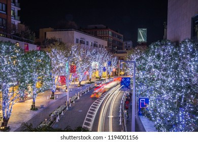 Roppongi road, Tokyo, Japan - December 2016 : Tokyo Illuminations with Night urban skyline and Tokyo Tower