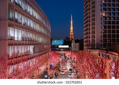 ROPPONGI - TOKYO - JAPAN - DEC 2014: Roppongi Winter Illumination with Tokyo Tower Background on 12 Dec 2014