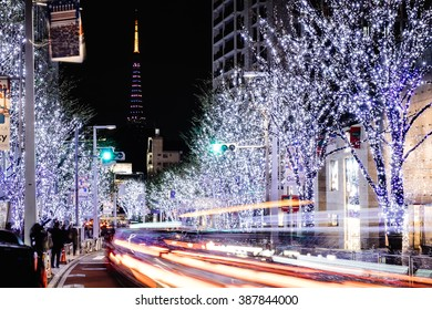 ROPPONGI, TOKYO, JAPAN - NOV 2015 : Roppongi hill christmas illumination with long exposure