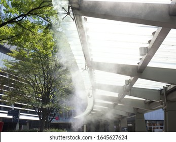 Roppongi, Tokyo / Japan-August 17, 2019: Dry mist installed at Roppongi Hills in Tokyo. A facility that lowers the temperature by spraying fine mist.