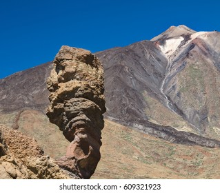 Roque Cinchado in Tenerife, Spain, with the Pico del Teide in the background and deep blue sky.