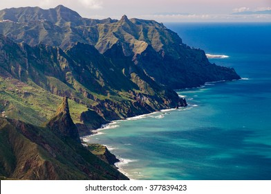 Roque de las Animas and Anaga mountains, Tenerife island, Spain