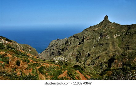 Roque, landscape photographs of Tenerife with typical rocks of the area Taganana, sun and sadows, Tenerife, Canary Islands, Spain, white houses, blue sea, Atlantic ocean,