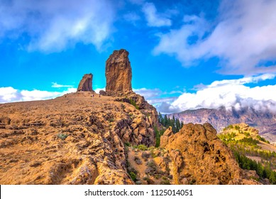 Roque Nublo in clouds, highest peak of Gran Canaria island, Spain