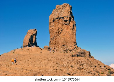 Roque Nublo is a volcanic monolith feature that is 80 m tall. It is one of the most famous landmarks on the island of Gran Canaria, Spain.