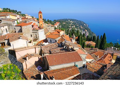 ROQUEBRUNE-CAP-MARTIN -22 APR 2018- View of the perched fortified medieval village overlooking Roquebrune-Cap-Martin and the Mediterranean Sea on the French Riviera.