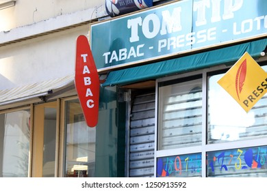 Roquebrune-Cap-Martin, France - December 5, 2018: Tabac Loto Presse Shop In The City Of Roquebrune-Cap-Martin, French Riviera, France, Europe, Closeup View