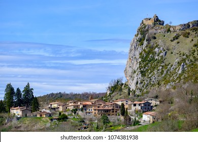 Roquefixade perched cathar castle and village in Ariege, french pyrenees