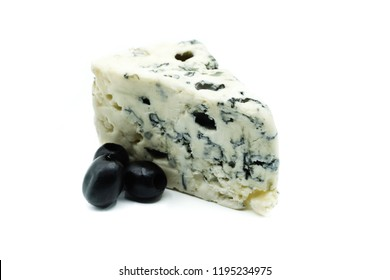 Roquefort blue cheese isolated on white background