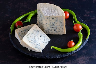 Roquefort or blue cheese. Traditional snacks in France and Italy. gourmet cheese