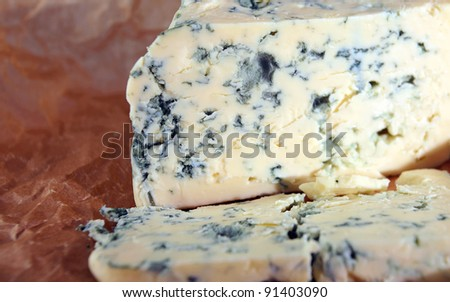 Roquefort cheese ,focus on a foreground.