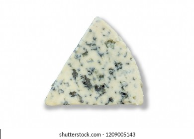 Roquefort cheese wedge top view photo isolated on a white background