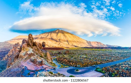 Roques de Garcia stone and Teide mountain volcano in the Teide National Park, Tenerife, Canary Islands, Spain.