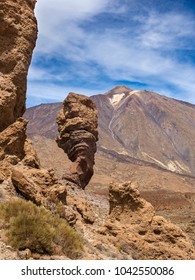 Roques de Garca tourist attraction with Mt Teide in the background.