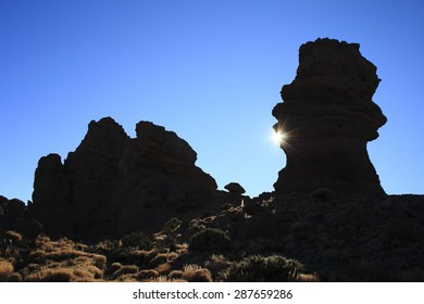 Roques, García, lava siluet, sun, Mount Teide, Tenerife, Canary islands, Spain, the Plain of Ucanca, Canadas of Teide, column, famuos, formation, hill, relaxation,rock,tourism,