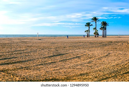 Roquetas beach in the Spanish province of Almeria on a cloudy day. It is a tourist and holiday place.