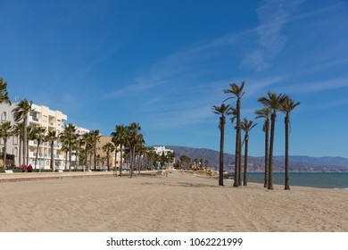 Roquetas del Mar playa Costa de Almería, Andalucía Spain with palm trees