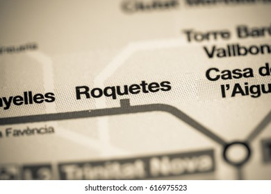 Roquetes Station. Barcelona Metro map.
