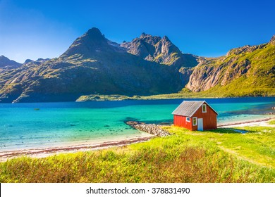 Rorbu House, beach, Lofoten, Norway