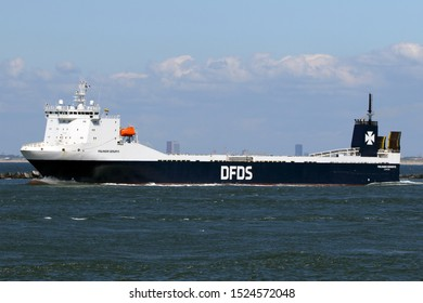 The ro-ro cargo ship Finlandia Seaways leaves the port of Rotterdam on 3 July 2019.