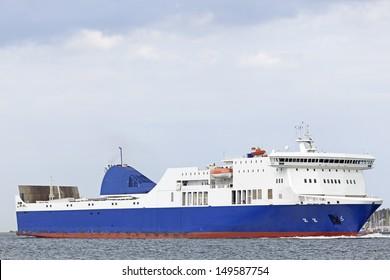 Ro-Ro ferry on the Baltic Sea near Kiel, Germany