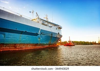 Ro-ro ship entering to port of Gdansk, Poland.