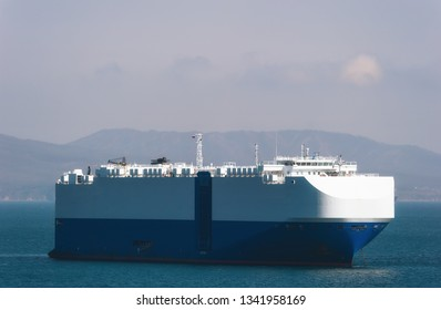 Ro-ro ship standing on the roads at anchor.