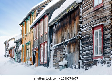 ROROS, NORWAY, DEC 27, 2017: Weathered building facades from the old mining district in Roros.