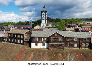 Roros, Norway - June 24, 2013: View to the copper mines town of Roros in Roros, Norway. Roros town is declared a UNESCO World Heritage site.