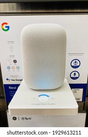 Ros, CA - March 3, 2021: Google Nest Audio on display inside a home improvement store.