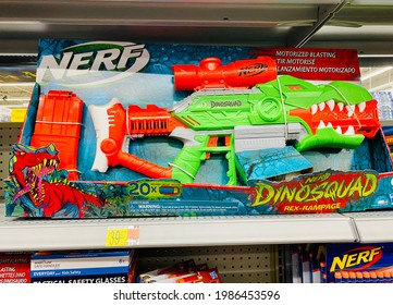 Ros, CA - May 5, 2021: Nerf Dinosquad dart gun on a shelf inside toy department.