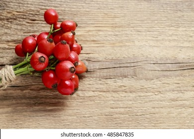 Rosa canina twigs (rose hip) on wooden background, copy space
