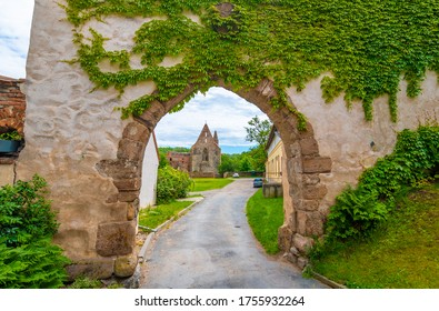 The Rosa Coeli monastery. Ancient catholic ruin of women monastery near Dolni Kounice city. Religion gothic place with spiritual history builded from stone. Medieval and historical heritage.