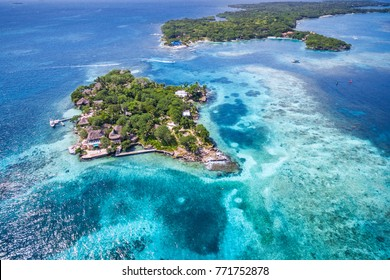 Rosario Islands (Islas del Rosario) in Cartagena de Indias, Colombia, aerial view.